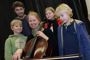 Story told with a little mood music at school by string quartet